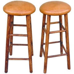 Pair of Old Finish Bar Stools With Leather Seats