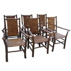 Set of Six Signed Old Hickory Dining Armchairs