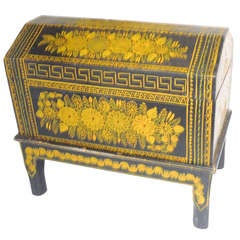Antique Ebonized Hand-Painted Mexican Wedding Trunk