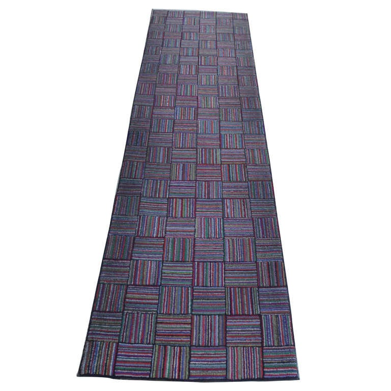 Amazing Long Hand-Hooked Runner Rug In Log Cabin Pattern