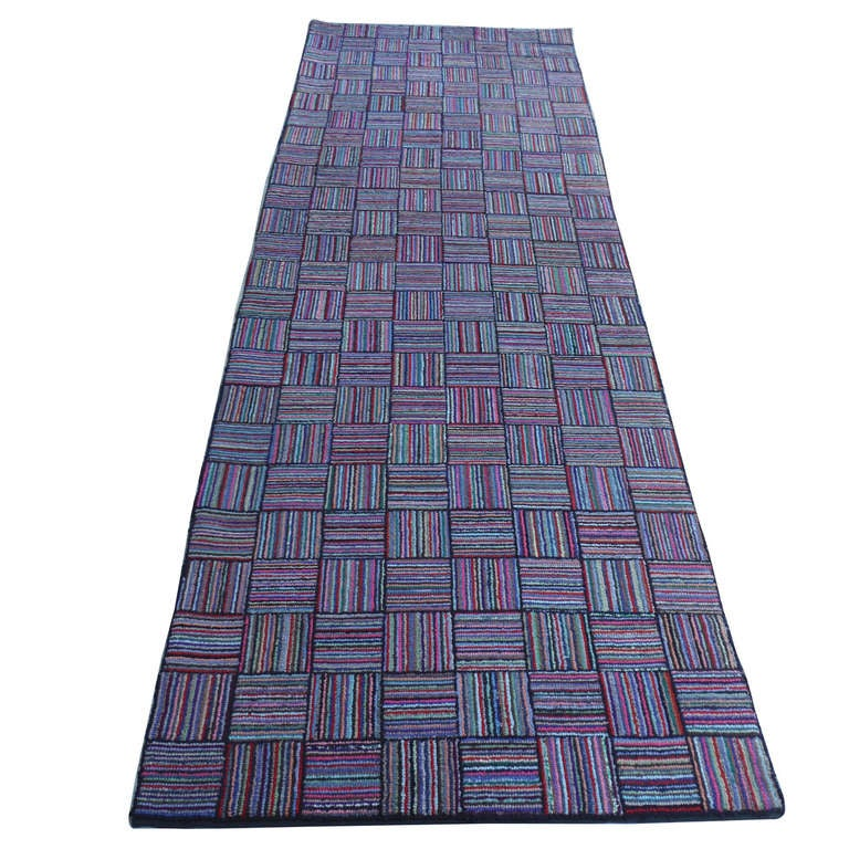 Fantastic Large Hand Hooked Log Cabin Runner Rug At 1stdibs
