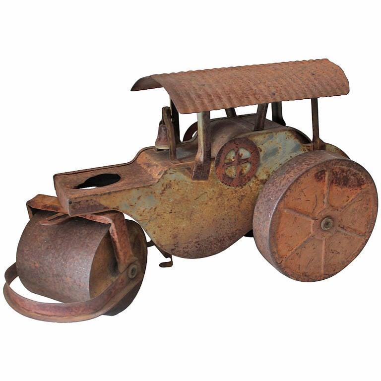Original Painted Keystone, Boston Tin Toy Steam Roller Truck