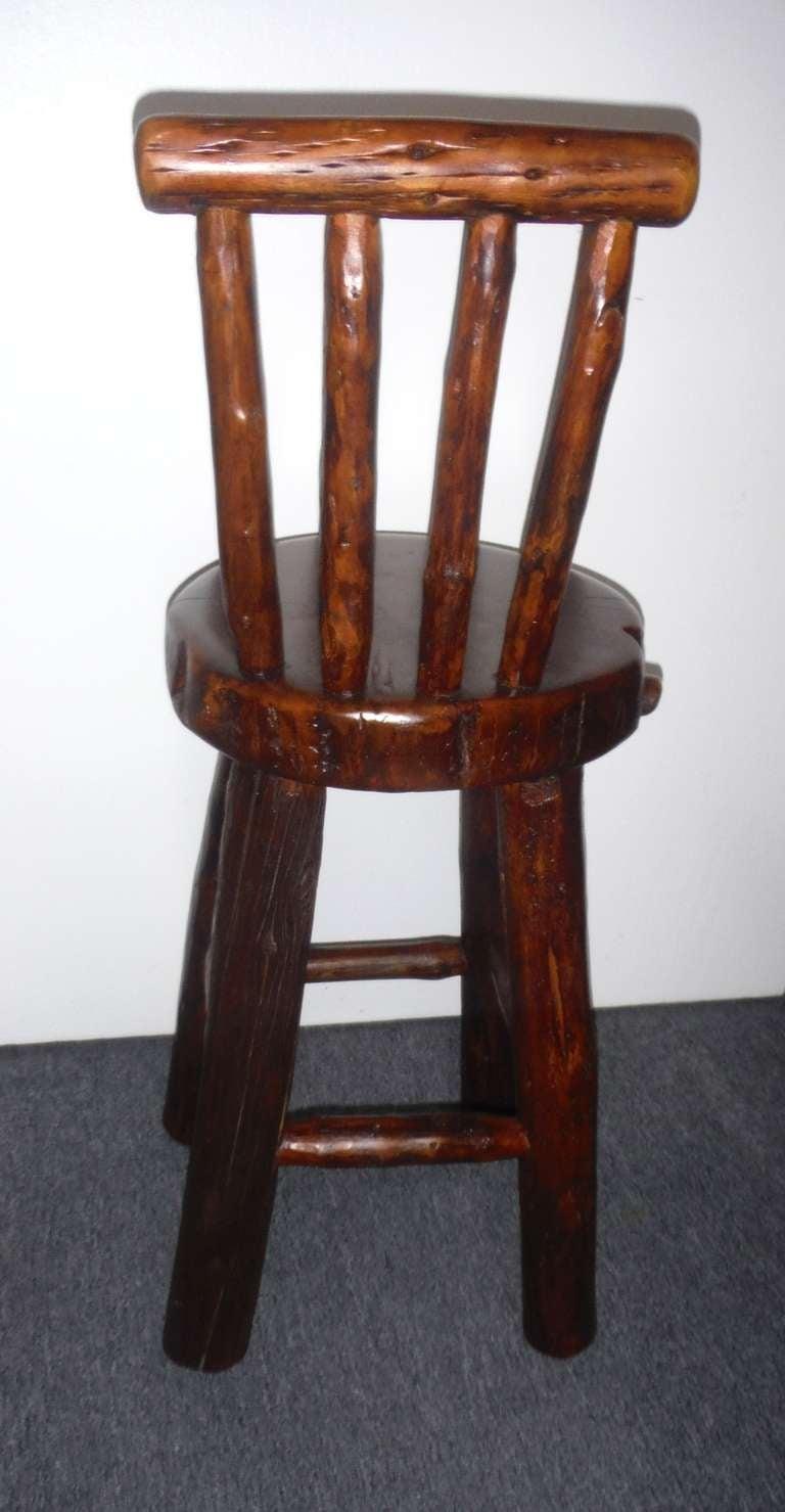 Pair Of Rustic Log Hickory Bar Stools W Pllank Seats At 1stdibs