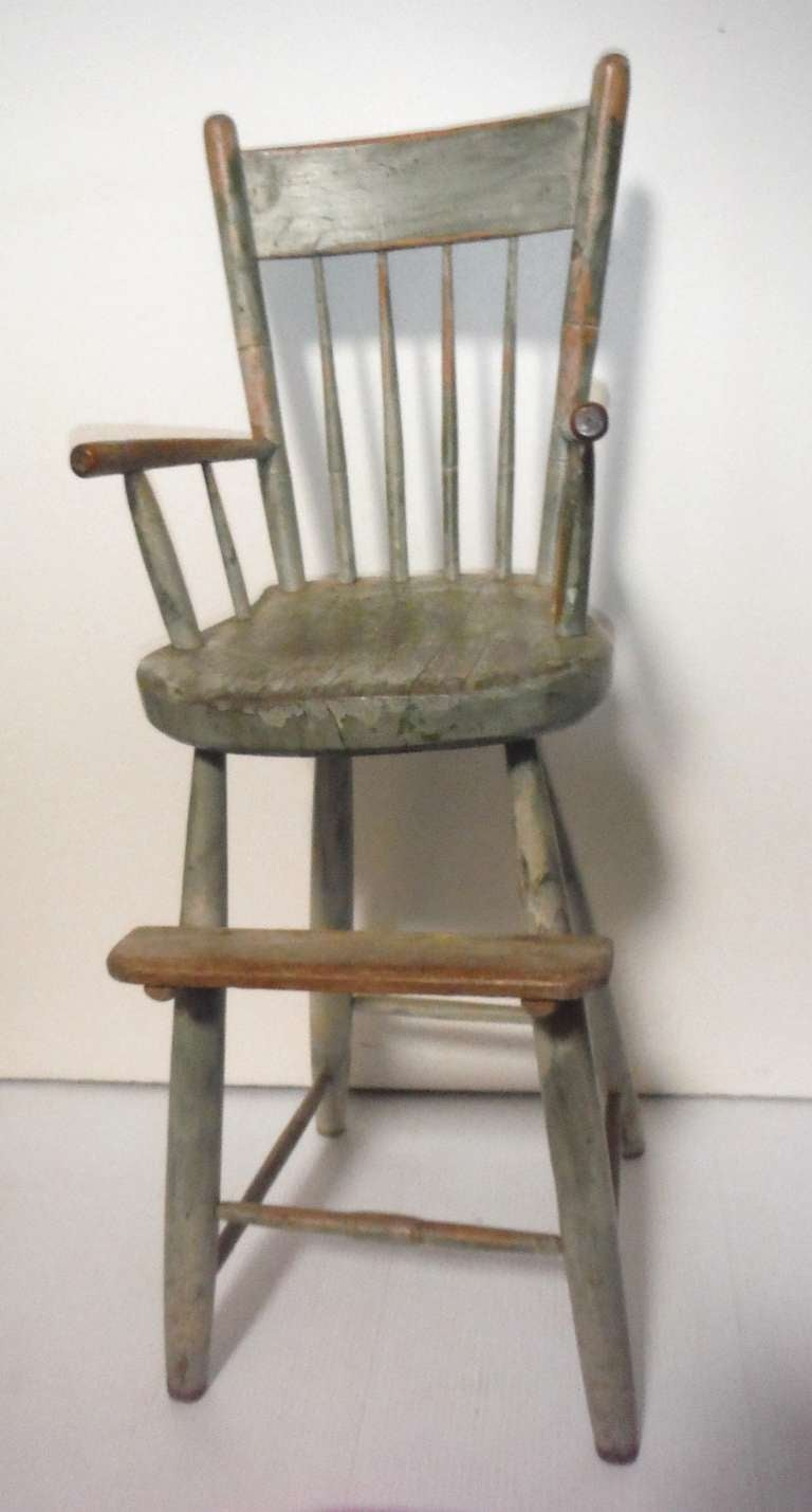 19thc Original Sage Green Painted Height Chair At 1stdibs