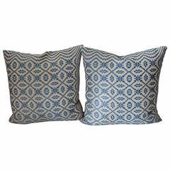 19th Century Blue and White Jacquard Coverlet Pillows