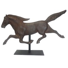 19thc Rochester Iron Works Cast Iron Mounted Horse
