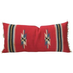 Vibrant Red Mexican Serape Bolster Pillow