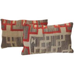 19th Century Pair of Geometric Navajo Indian Weaving Pillows