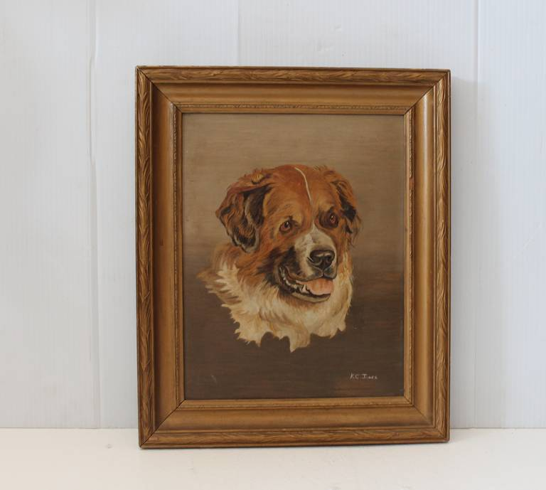 19th century oil painting of a Bernese mountain dog. Painted on art board. Signed K.C Jones. Kaitlyn Cecilia Jones from Chateaugay, NY. The painting is very well done. Beautiful piece.