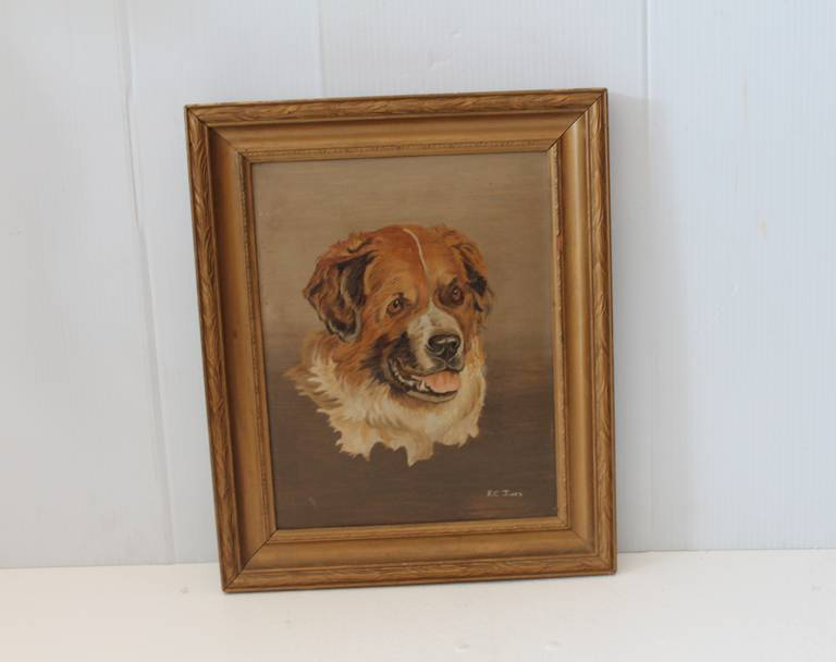 American 19th Century Bernese Mountain Dog Oil Painting For Sale