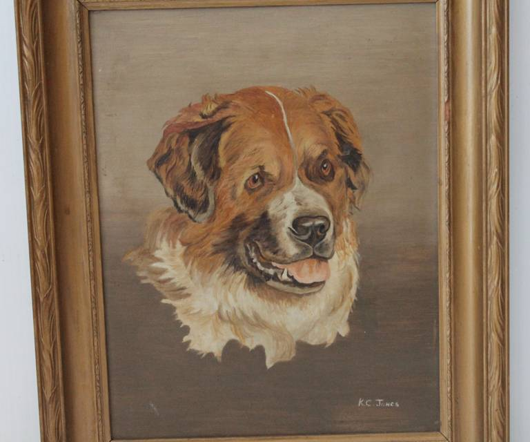 19th Century Bernese Mountain Dog Oil Painting In Excellent Condition For Sale In Los Angeles, CA