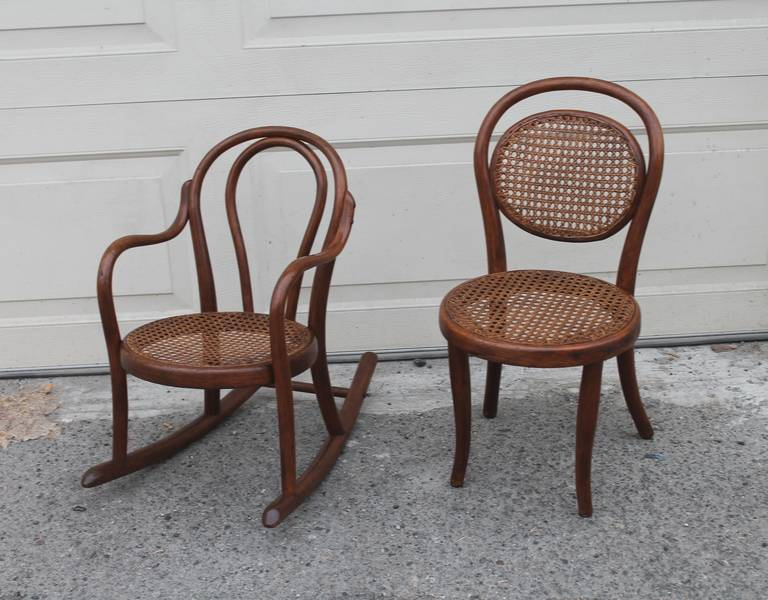 Century bentwood child s rocking chair and chair for sale at 1stdibs