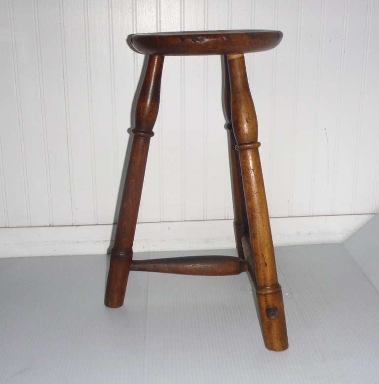 Early 19th Century New England Pie Crust Border Stool For