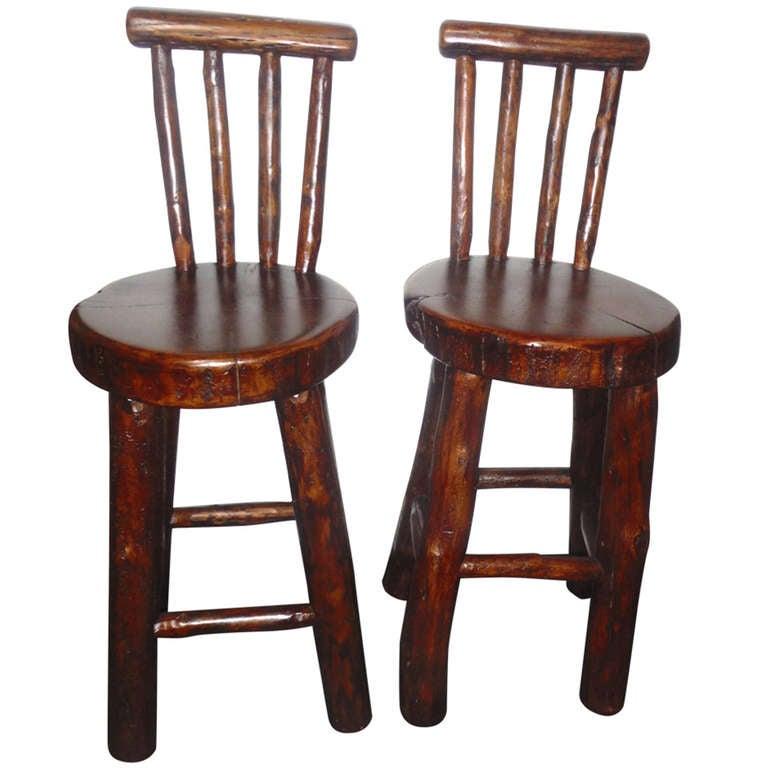 Pair Of Rustic Log Hickory Bar Stools W Pllank Seats At
