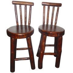 Pair of Rustic Log /Hickory Bar Stools w/ Pllank Seats