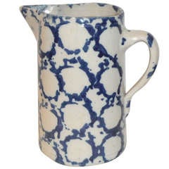 Early 19th Century Geometric Sponge Ware Pottery Pitcher