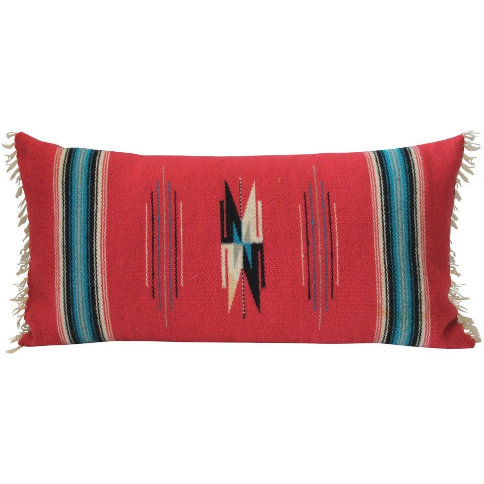 Mexican Red Serape Bolster Pillow