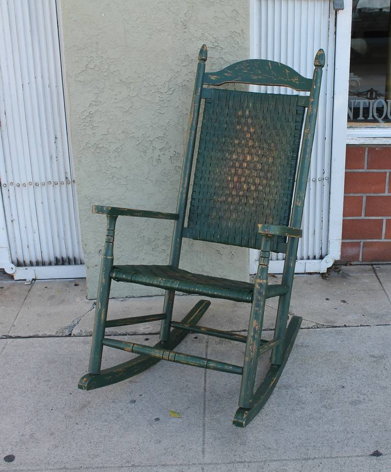 This Fine Original Worn Green Painted Tall Back Rocking Chair Was Found In  Pennsylvania. The