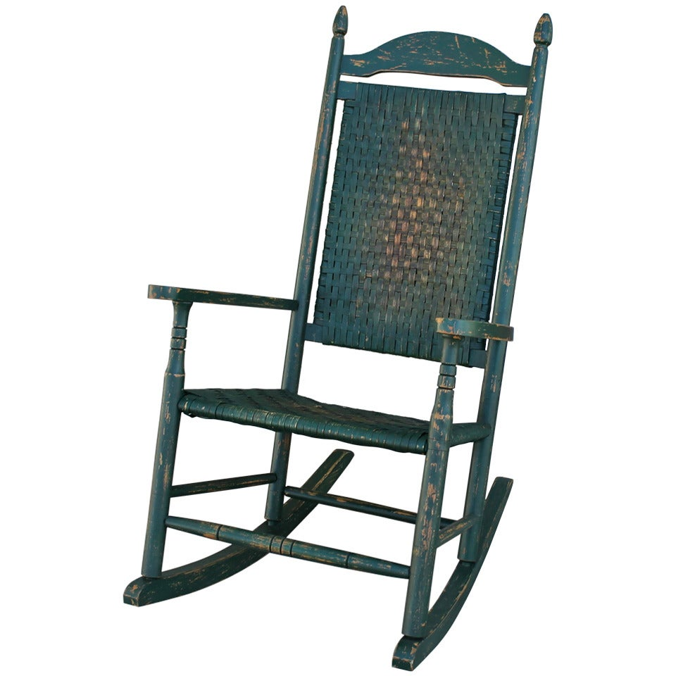 Early 20th Century Original Green Painted Rocking Chair At