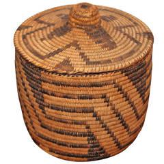 Geometric Papago American  Indian  Lided Storage Basket