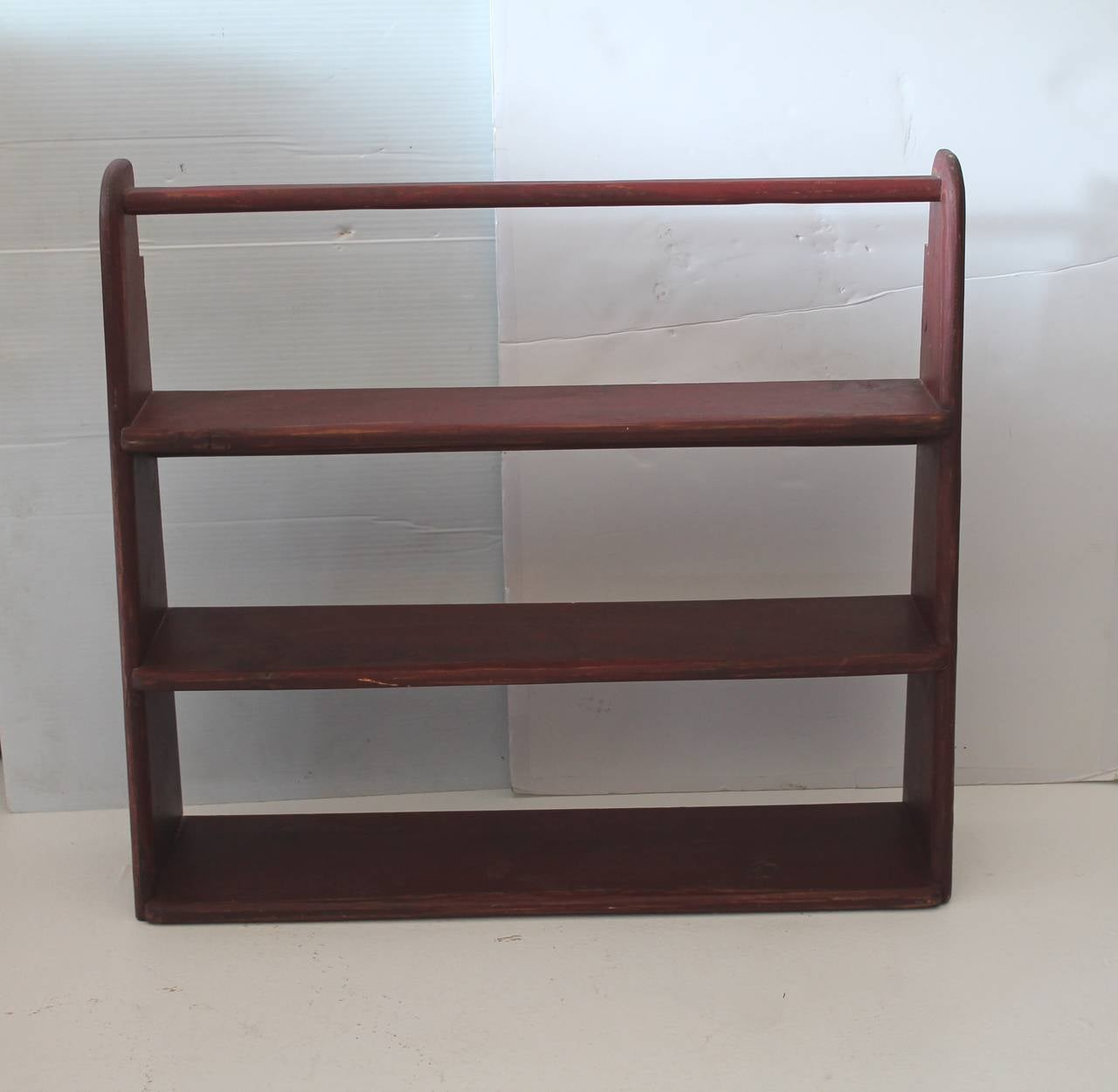 19th Century Original Red Painted Canted Shelf At 1stdibs