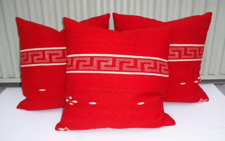 American Collection of Three Brilliant Texcoco Woven Pillows For Sale