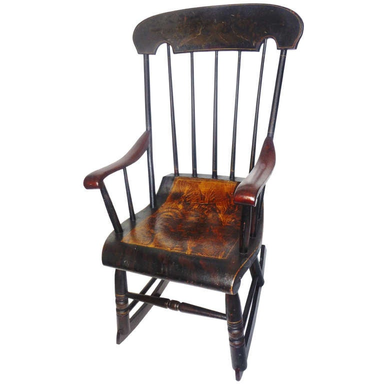 Early 19th Century Original Paint Decorated Rocking Chair at 1stdibs