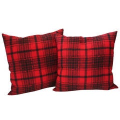 Pair of Red and Black Plaid Pendleton Blanket Pillows