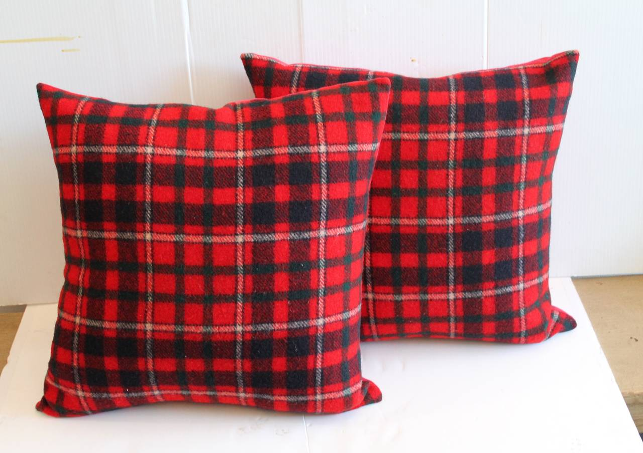 pair of red and blue pendleton blanket pillows for sale at