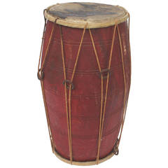 Amazing 19th Century Native American Ceremonial Drum In Original Red Paint