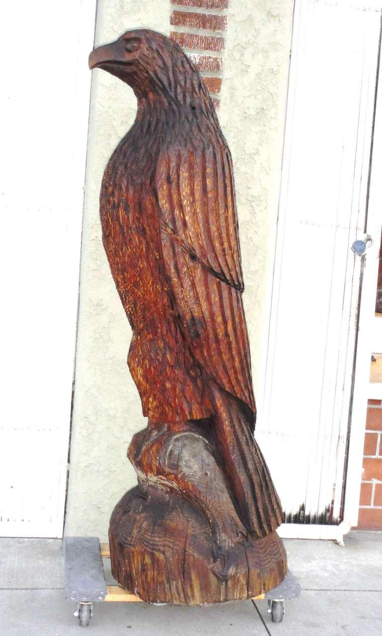Monumental hand carved wood folk art eagle at stdibs