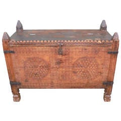 Early 19th Century Spanish Hand-Carved Wood Box