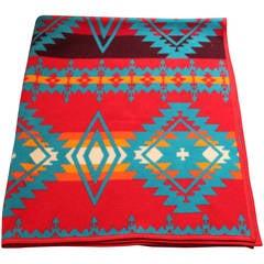 Pendleton Indian Design Camp Blanket (Red and Teal)