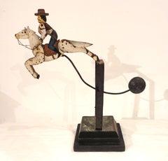 Amazing Early 20thc Cowboy on Horse Target Shoot