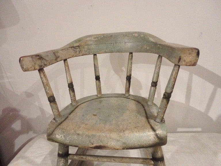 19thc Original Sage Green Painted Childs Rocking Chair