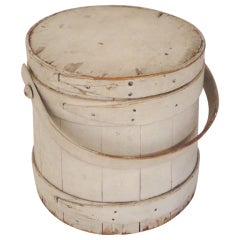 19th Century Original White Painted Firkin Bucket From New England