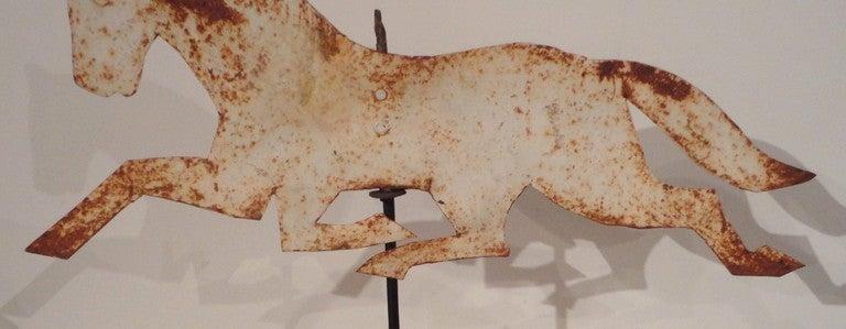 19thc Original White Painted Amish Horse Sheet Iron