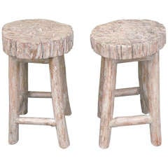 Pair of 20th Century Light Gray Painted Log Bar Stools