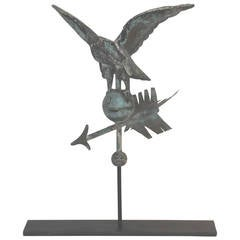 Fantastic Diminutive 19th Century Eagle Full Body Weathervane on Stand