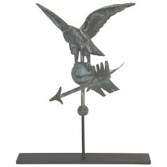 Fantastic Diminutive 19thc Rare Eagle Full Body Weather Vane on Stand