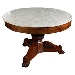 English Gueridon Table in Mahogany with Marble Top, Circa 1810