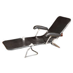 Folding Metal Lounger in Black Leather, circa 1940