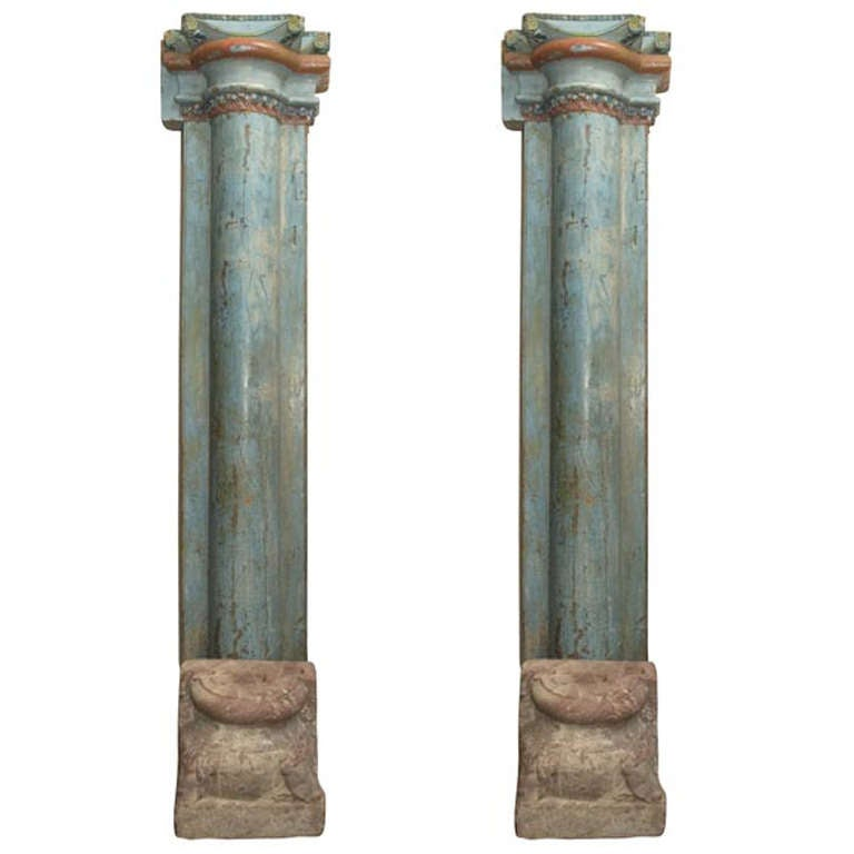 1850s Set of Four French Painted and Carved Wood Architectural Columns For Sale