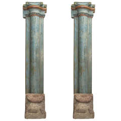 1850s Set of Four French Painted and Carved Wood Architectural Columns