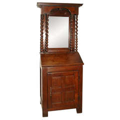 Early 18th Century French Petite Secretaire or Bureau with Projecting Cabinet