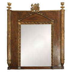 French Giltwood and Faux Bois Mirror, circa 1820