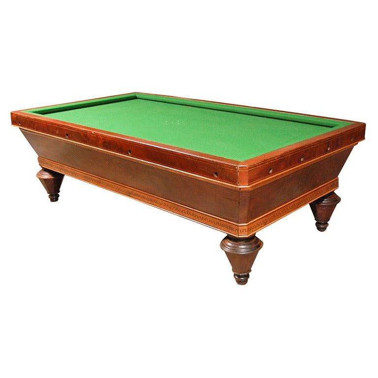 1860s Italian Carom Mahogany Billiard Table with Inlay