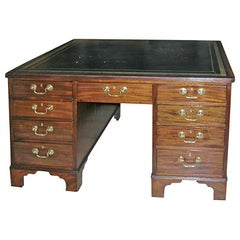 1820s English Mahogany Partner's Desk with Greek Key Leather Top