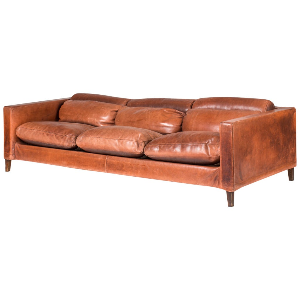 Italian Buffalo Leather Sofa For