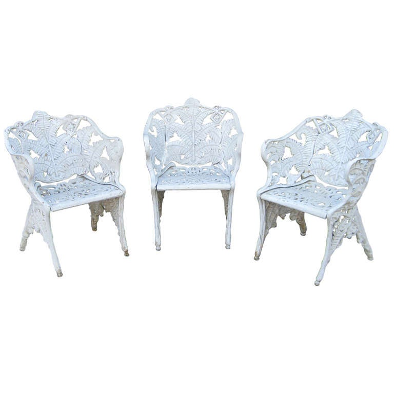 Three victorian cast iron fern garden chairs at 1stdibs Cast iron garden furniture